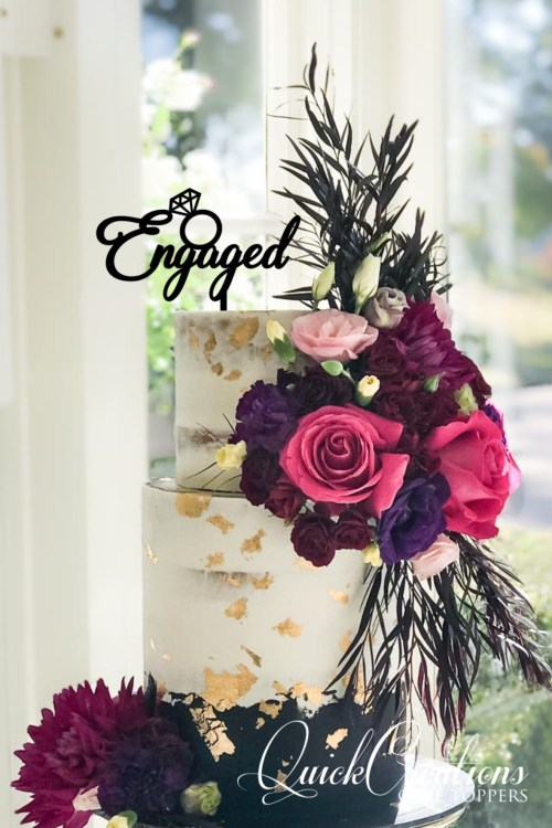 Quick Creations Cake Topper - Engaged v2