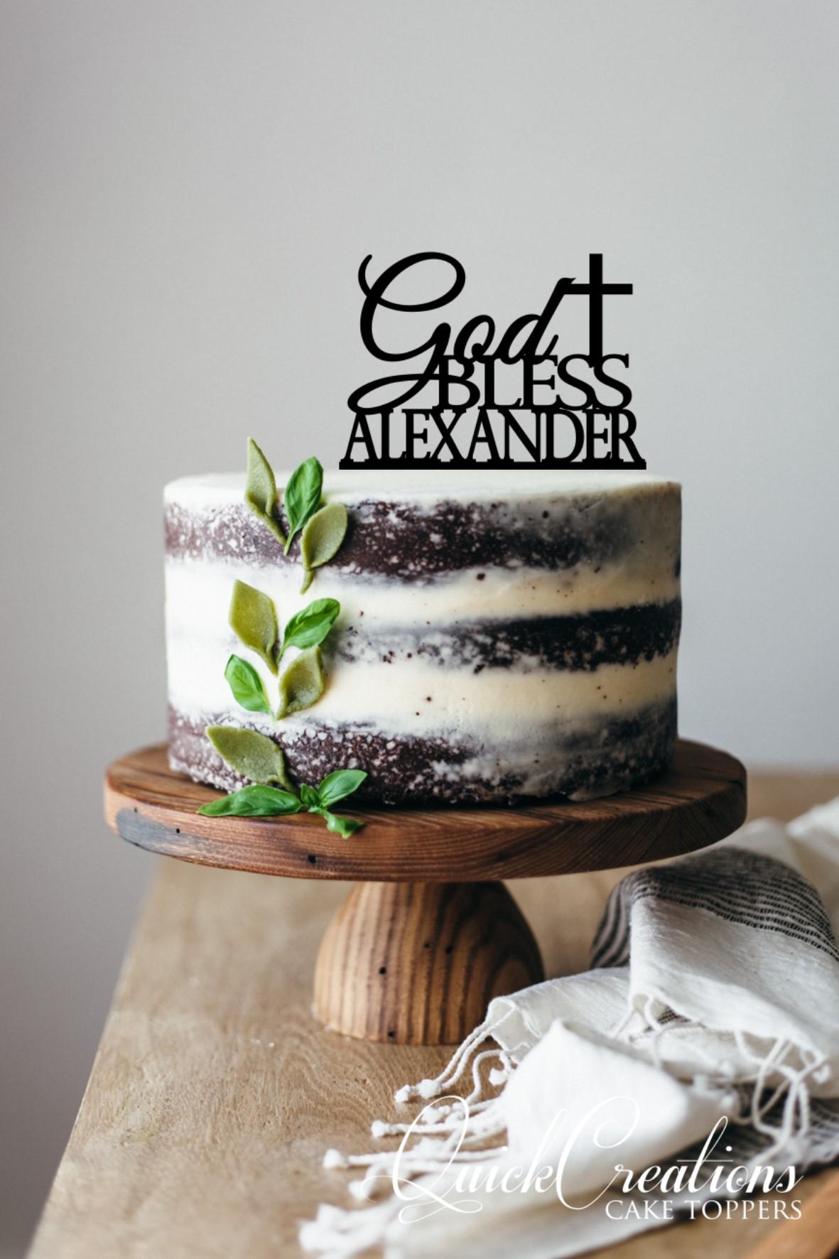 Quick Creations Cake Topper - God Bless Alexander Cross