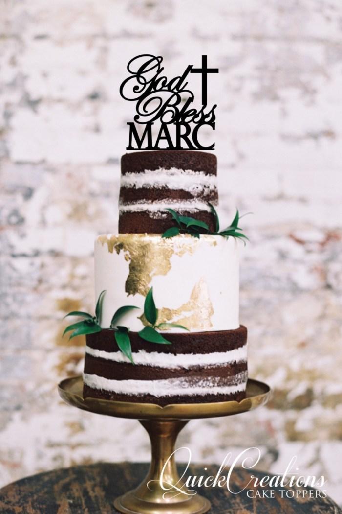 Quick Creations Cake Topper God Bless Mark Cross