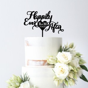 Quick Creations Cake Topper - Happily Ever After Initials & Date