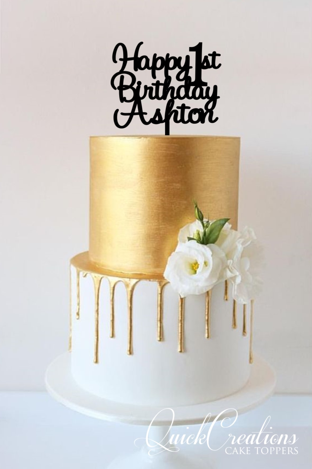 Excellent Happy 1St Birthday Personalised Cake Topper Quick Creations Funny Birthday Cards Online Hetedamsfinfo