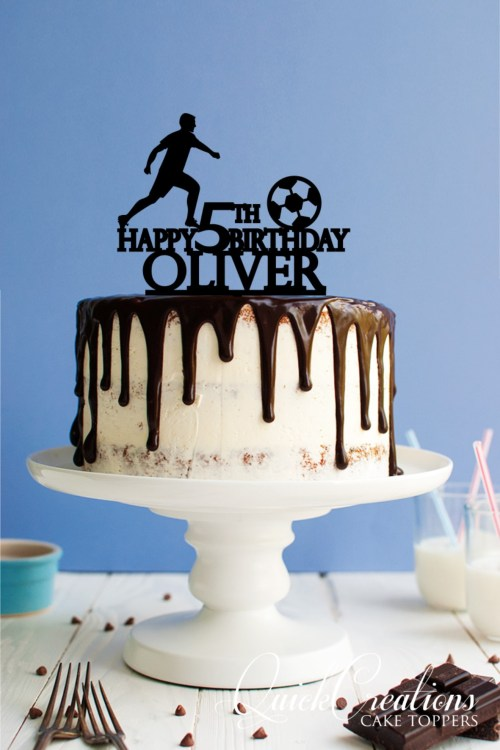 Soccer Happy 5th Birthday Personalised Cake Topper