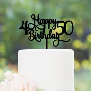 Quick Creations Cake Topper - Happy Birthday 4 & 50