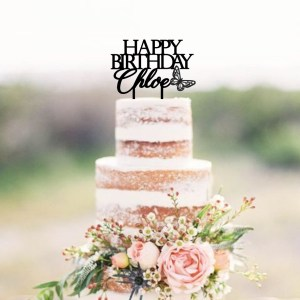 Quick Creations Cake Topper - Happy Birthday Chloe Butterfly