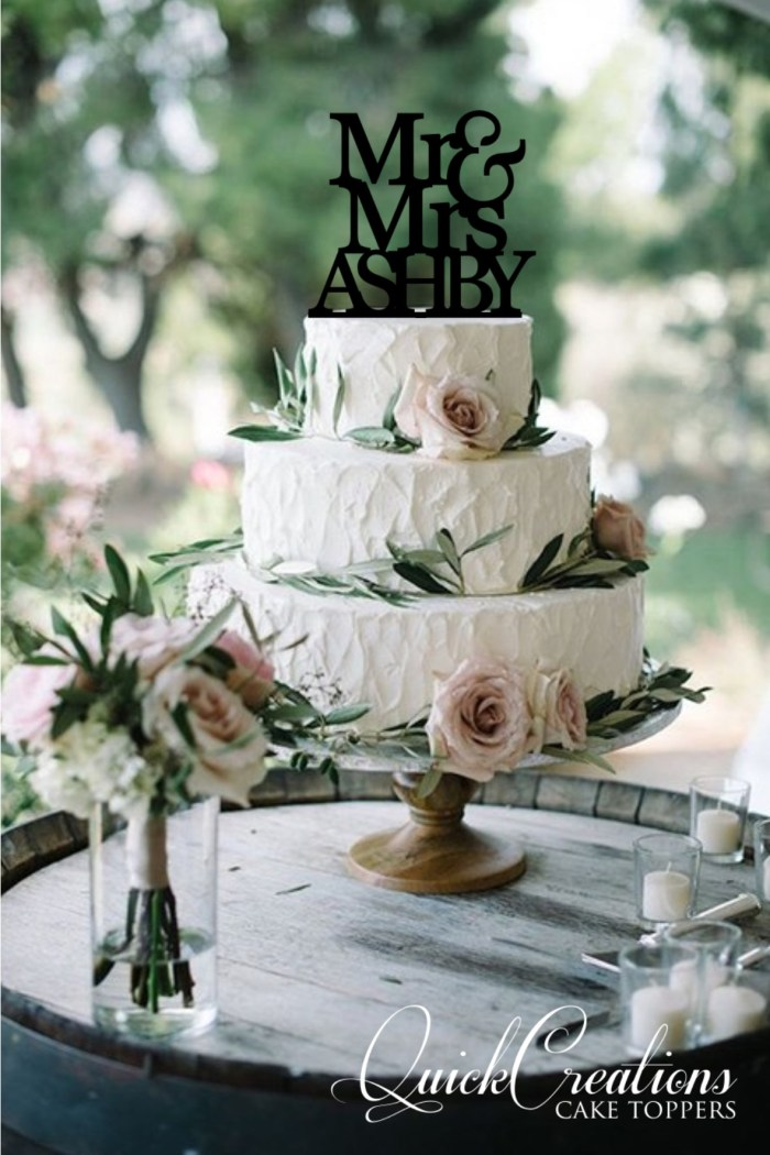 Quick Creations Cake Topper - Mr & Mrs Ashby