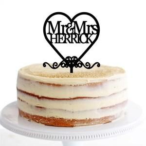 Mr & Mrs Herrick Heart Swirls Cake Topper