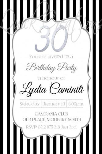 Adult Birthday Invitations Black White Stripe 30th Invitation