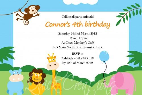Childrens Birthday Invitations Party Animals Jungle Birthday Invitation
