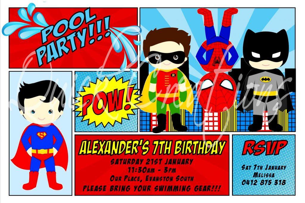 Childrens Birthday Invitations Superhero Pool Party Invitation