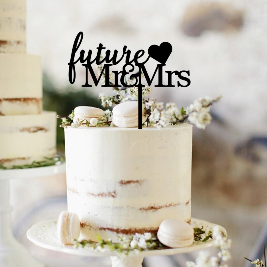 Future Mr & Mrs Heart Cake Topper
