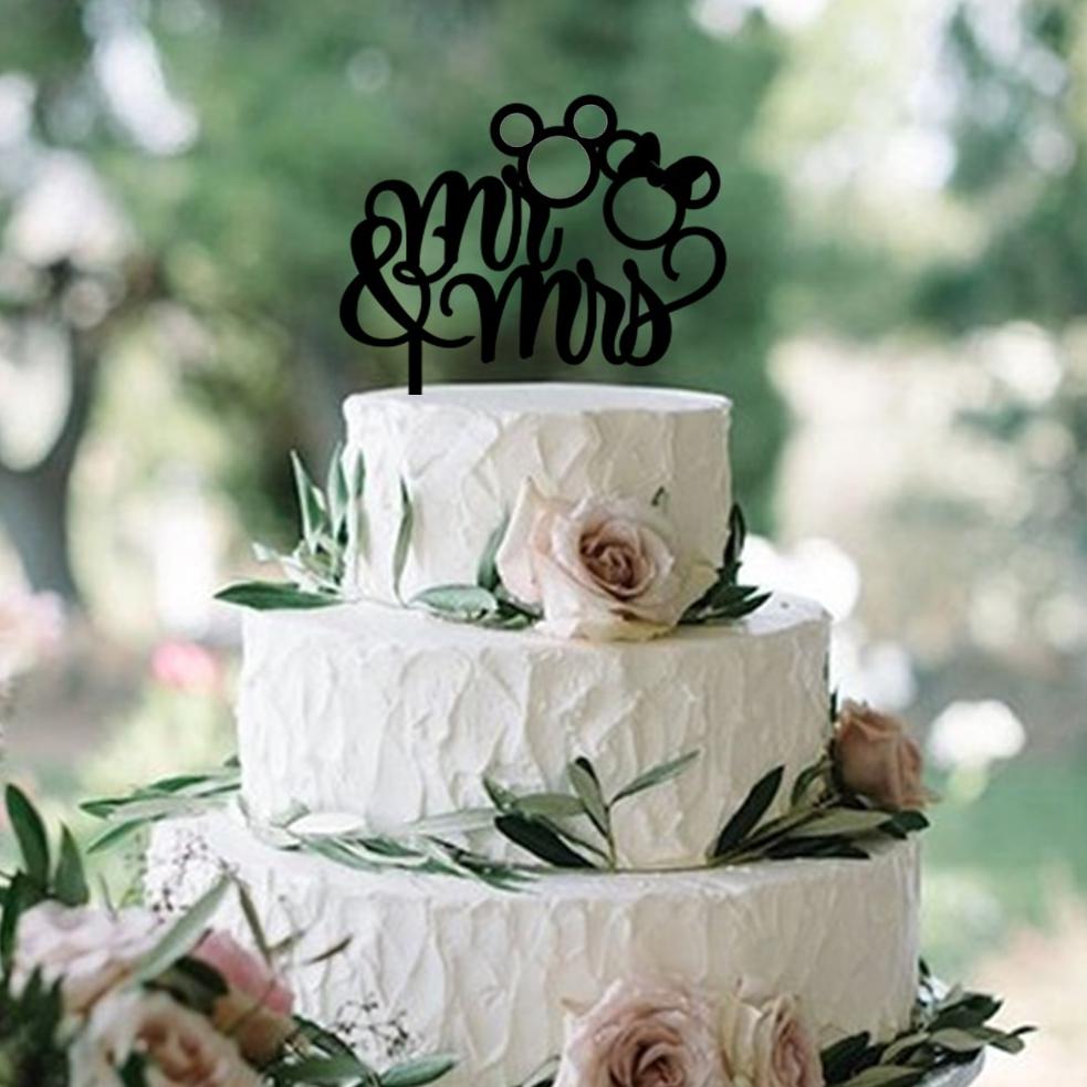Mr & Mrs Script Mouse Ears Cake Topper