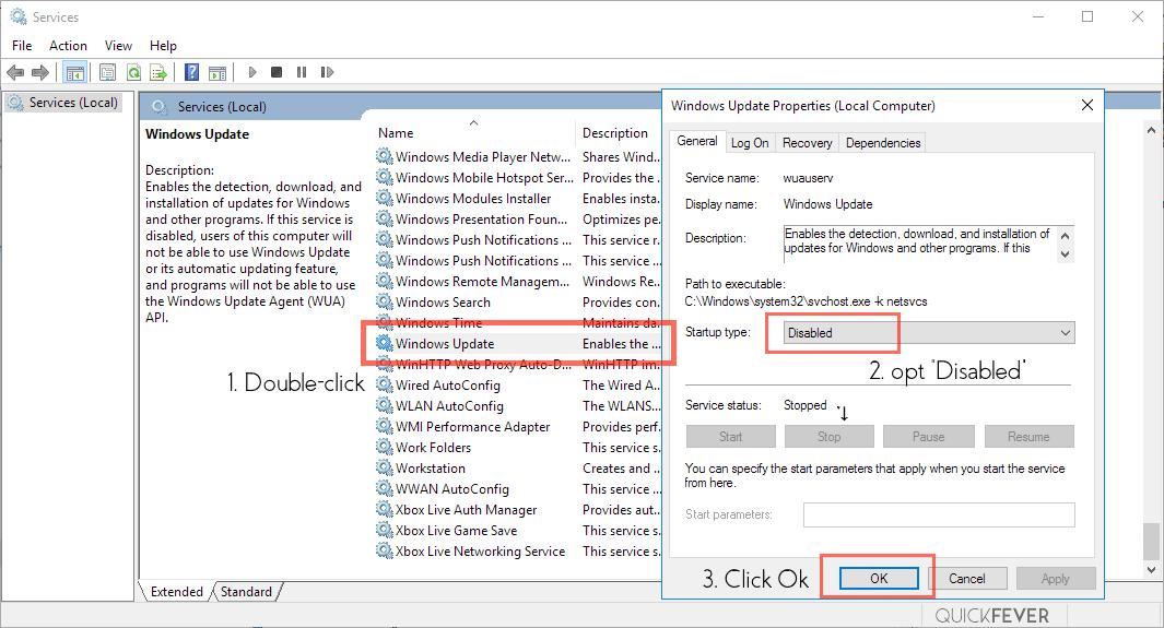 disable unnecessary service, windows 10, windows update