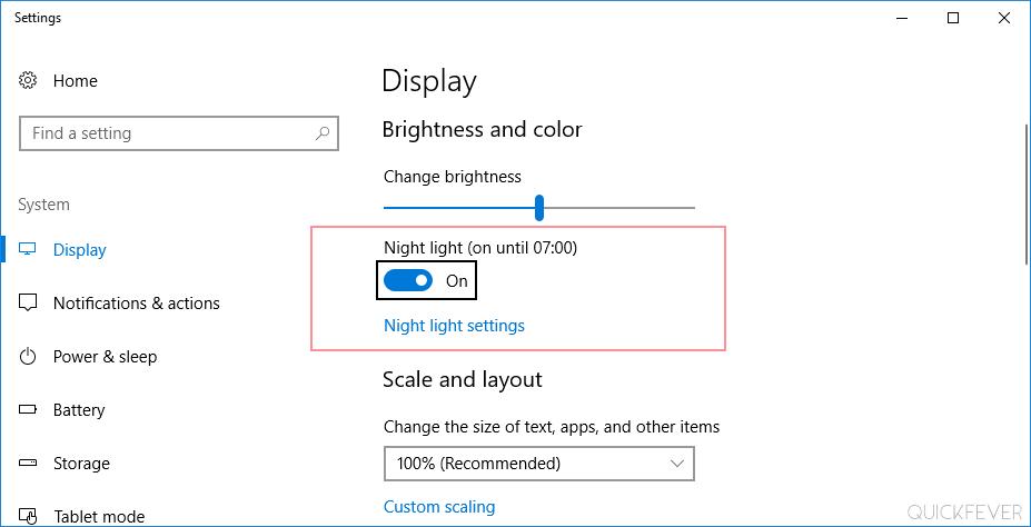 windows 10, night light mode