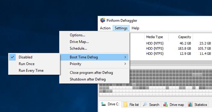 Defraggler - boot time scan