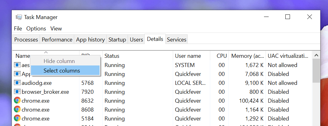 Check Installed Program Is 32-bit Or 64-bit In Windows 10, task manager