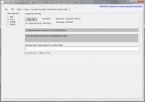 Hashing an individual file in Tab 2