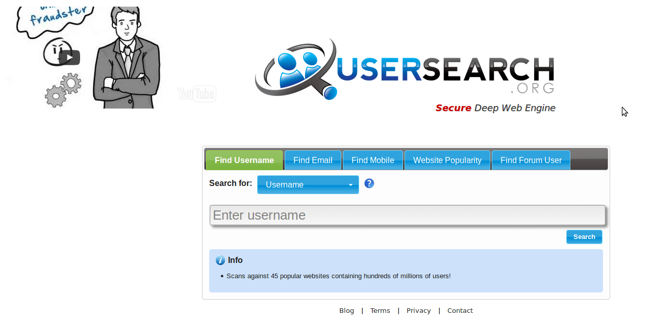 UserSearch.org homepage