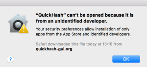 Screen Shot Apple Max OSX Security Warning