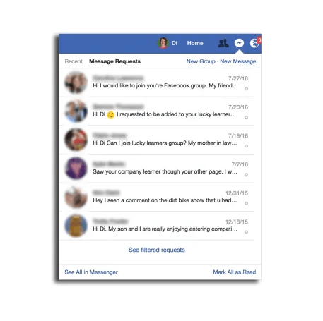 Facebook check filtered messages and message requests