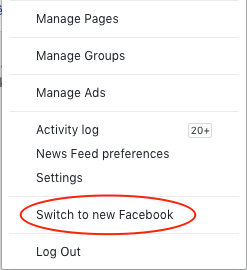 Classic Facebook Switch Back Settings