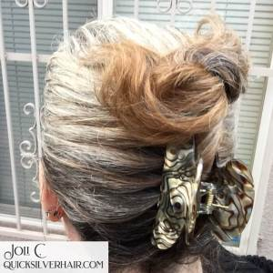 Image of a faux french twist in a jaw clip