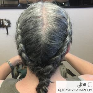 Image of double dutch braids into one braid silver hair