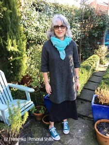 Liz in dress over skirt and turquoise scarf and converse