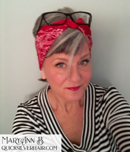Image of MaryAnn in a pixie cut and red bandana