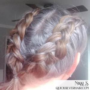 Image of double Dutch Braids in gray and red