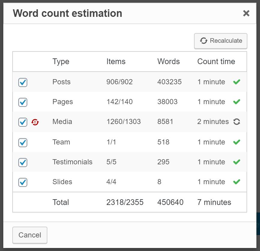 WPML wordcount estimate