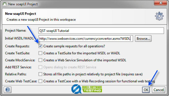 Add the WSDL Details to soapUI New Project