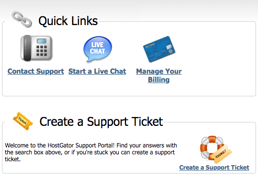 Screenshot from HostGator's support center homepage