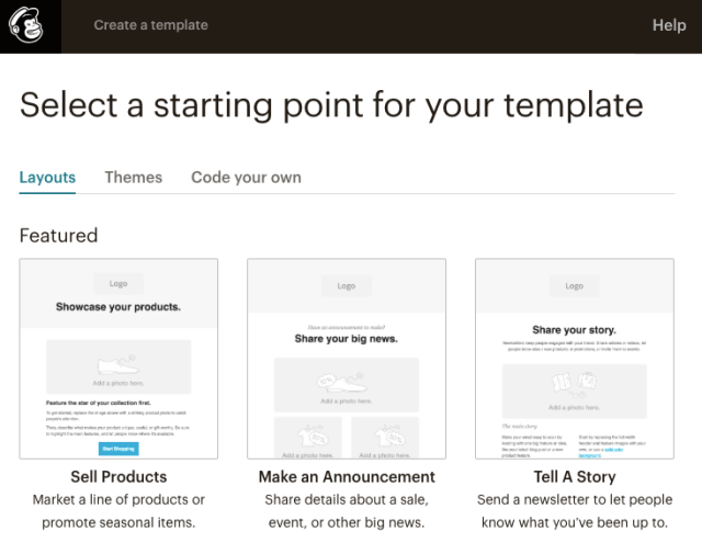 Mailchimp purpose driven email templates