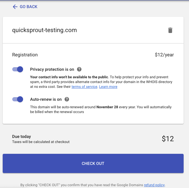 Google domain privacy protection and automatic renewal on