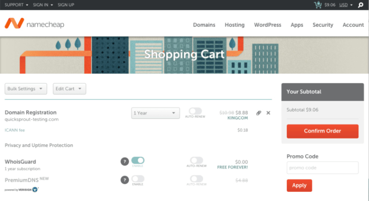 Namecheap final checkout scree with free WhoisGuard