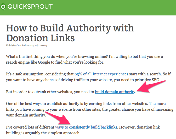 Building Authority With Donation Links