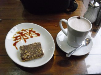 Caramel cookie bar and latte