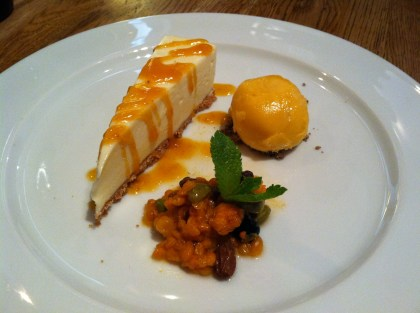 "Cloudberry cheesecake, sorbet, and cloudberry ""cream"" (which wasn't really cream)"