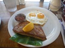 Tuna steak and eggs