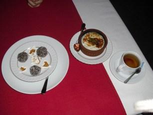 Grape balls and rice pudding