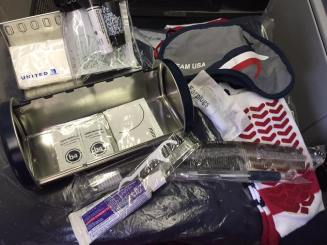 Tissues; facial wipe; lotion; chapstick; hand sanitizer; mints; toothbrush, paste, and pick; pen; comb; socks; earplugs; eye mask