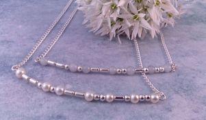 June birthstone (Swarovski pearls) or Air element (grey glass beads)
