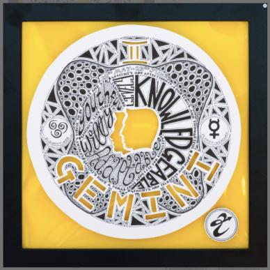 Gemini zodiac paper cut artwork ZodiArtistry