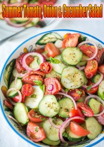 Fresh vegetables of tomato, thinly sliced onion and sliced cucumber dressed simply with vinegar and oil makes the most simple salad possible—think of it as the Southern counterpart to the classic Italian tomato-and-mozzarella salad. It is best enjoyed at the height of summer, when tomatoes and cucumbers are fresh from the garden... #recipe #salad