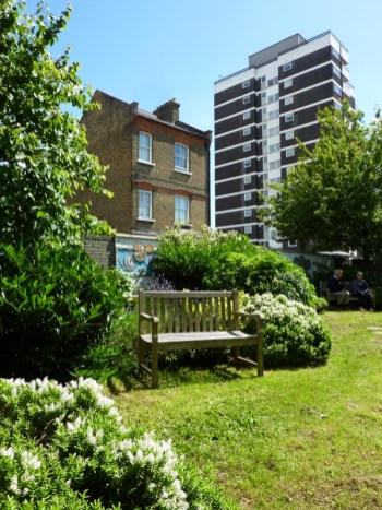 Quiet Garden at St Patrick's RC Primary School, Kentish Town, in north-west London