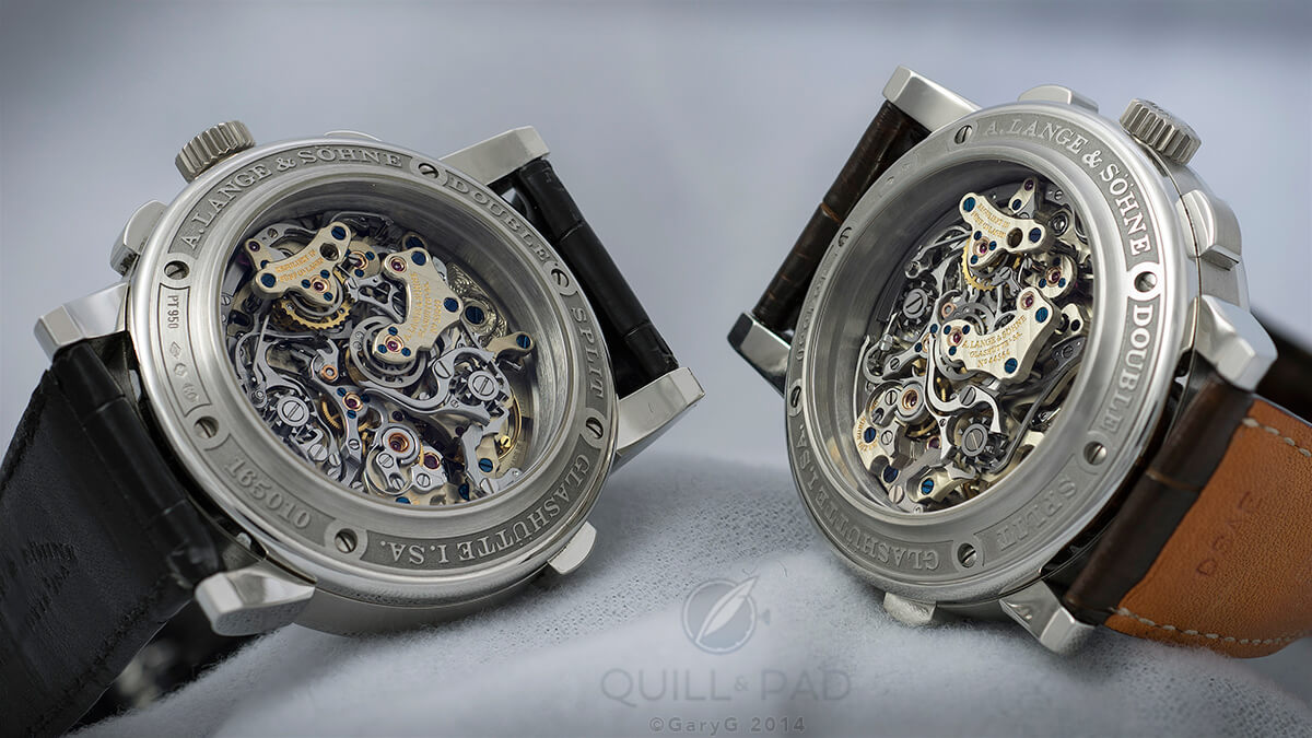 Double Double: two A. Lange & Söhne Double Splits seen from the movement side
