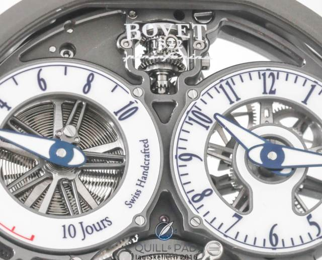 The spherical differential of the OttantaSei is visible behind the Bovet logo at 12 o'clock