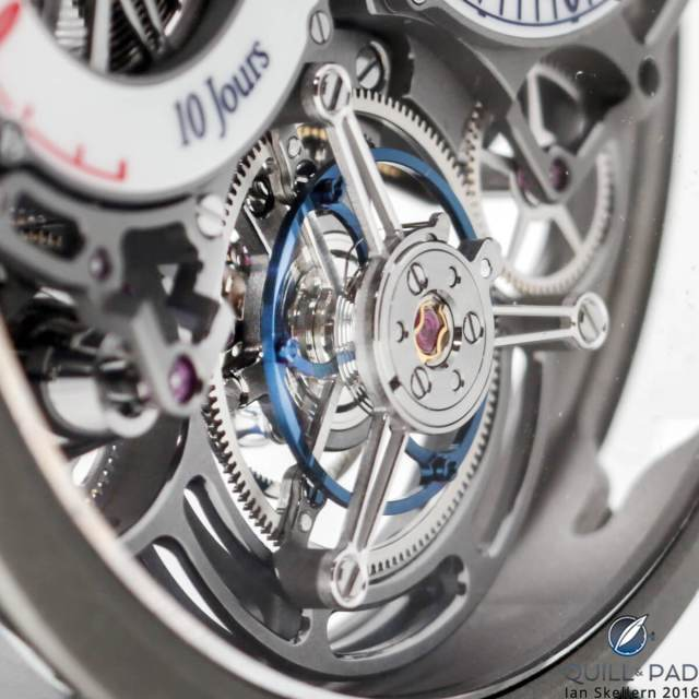 Closer look at the patented flying tourbillon of the Bovet Ottantasei by Pininfarina