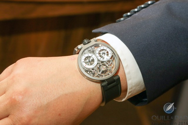 Bovet Ottantasei by Pininfarina on the wrist of Paolo Pininfarina