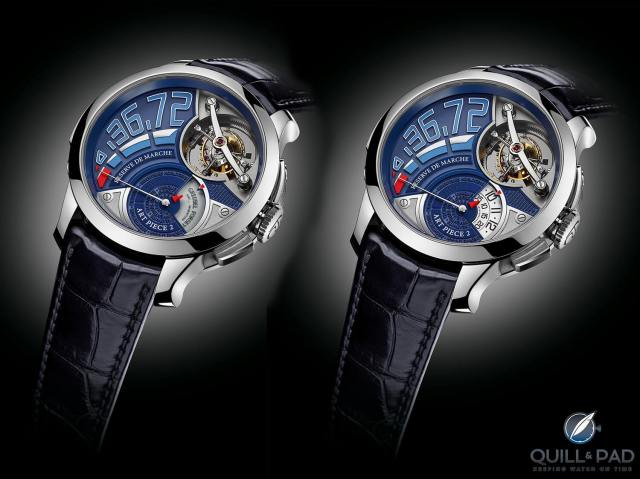 Greubel Forsey Art Piece 2 Edition 2 with time display closed (left) and time display open (right)